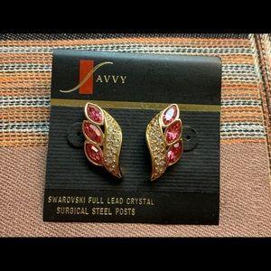 Swarovski Pink Austrian Crystal Pierced Earrings